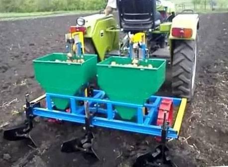 Посадка картофеля мотоблоком - настройка и регулировка устройства
