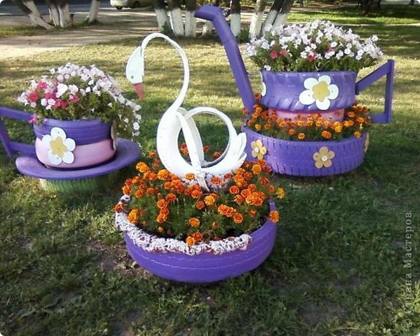 Украшаем дачу цветочной клумбой из покрышек: пошаговая инструкция и оригинальные идеи
