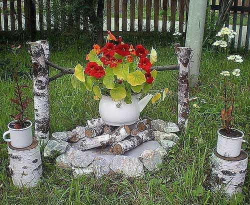 Фото идеи красивой клумбы своими руками из подручных материалов