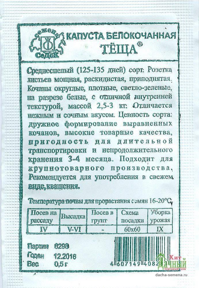 Капуста теща: описание сорта